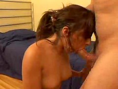 Brunette beauty gets hard deep throat and face fuck