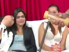 Real cfnm ladies love the toy show of their male slaves