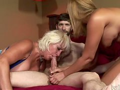 Mother And Daughter give double blowjob to bearded man
