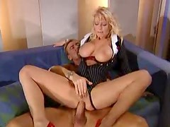 Busty blonde office milf gets anal drilled