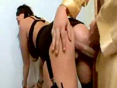 Blindfolded cocksucker bends over for a fuck