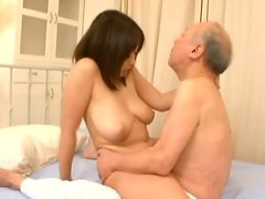 Japanese bitch fucks an old dude and gets a creampie