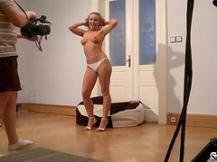 Sexy Silvia Saint undresses and fingers her pussy. Behind the scenes