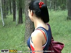 Anal & Fellatio with hot brunette in the woods