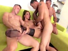 Leggy Euro girl turned into gangbang slut