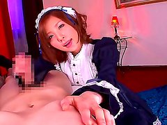 Horny maid Rin Sakuragi enjoys pleasing her master by deepthroating his hard cock