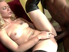 Black tight cocked Biggz nastily licked off blonde Melanie Jaynes white puss and rudely stuffed his cock in tiny cunt