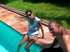 Enjoy delicious alluring brunette chick Jasmine and her friend Jmac having fun in a pool