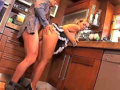 Sexy maid Mia Leone is serving wet and wild pussy for her horny boss at the kitchen today