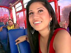 Teen brunette Andrea gets seduced by hunk while riding in the bus along