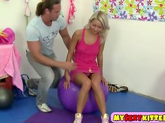 Young blondie fucked on the fitness ball