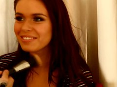 Horny Cristy Nicole gives an interview at the hairdresser