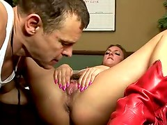Petite tattooed blonde squirts all over the place
