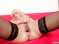 Lingerie is sexy on pussy spreading blonde