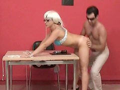 Cute blonde in glasses gets a good fuck