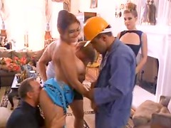 Two hot girls on their knees suck construction workers