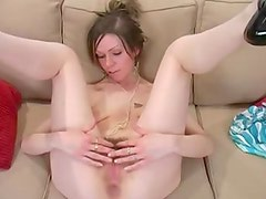 Small breasted girl shows her hairy pussy