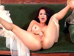 Skinny brunette with big tits Vanessa Veracruz spreads her sexy legs and masturbates on the sofa