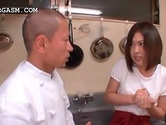 Asian waitress gets tits grabbed by her boss at work