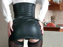 Sexy mom in rubber and stockings