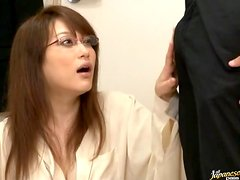 Naughty Japanese Babe In Glasses Sucks And Fucks A Big Cock