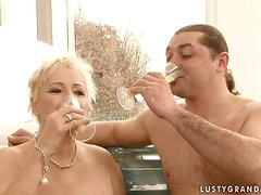 Hot Sex in the Jacuzzi with Short-Haired Blonde Mature