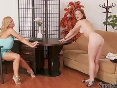Michelle shows her body to Silvia Saint during a casting