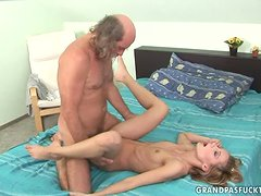 Introducing Jenevieve with an old man, eating her pussy