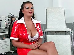 Chubby brunette chick Jasmyne Black gives an interview