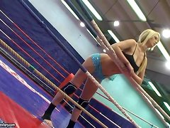 Antonya and Sophie Moone practise scissoring on a ring
