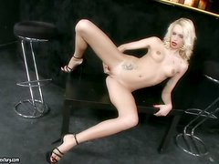Divine blondie Erica Fontes shows off her pussy