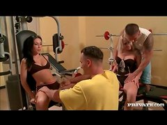 Foursome foreplay in the gym with licking and sucking