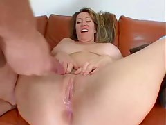 Groaning milf lets him up her asshole