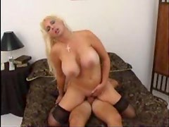 Bouncy tits milf blonde cumshot on tits