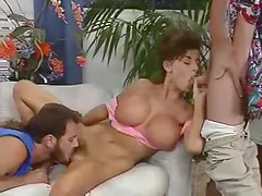 Fake tits 80s babe boned in threesome video