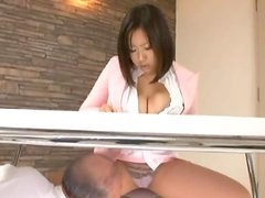 Office girl lets an elderly dude toy her nice pussy