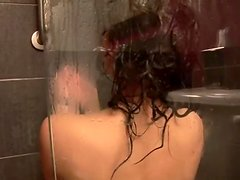 Exotic brunette Brittany Fuchs  takes shower alone