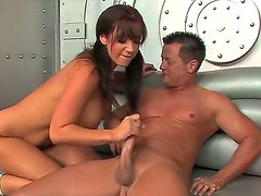Gorgeous Jayden Jaymes is worshiping studs huge rod with blowjob and amorous cock riding