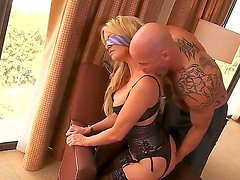 Mature blonde Jessica Drake enjoys hard fucking with horny male with huge cock