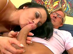 Brunette Sandra Romain pleases hunk Christoph Clark with one nasty hardcore oral and deep fuck