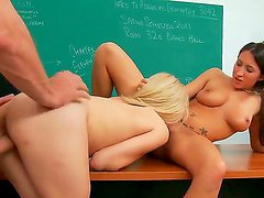 Fine college whores Lizz Tayler and Tegan Summers appeasing Prof. Tom Byron