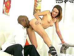 Amber Rayne gets drilled in her shaved pussy by black dude Wesley Pipes