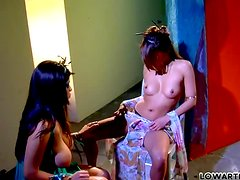 Charmane Star and Yuri Luv lick and finger each other's pussies