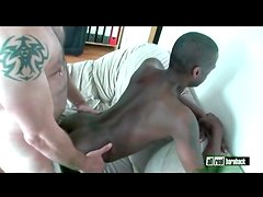Bear and black guy have bareback anal sex