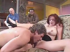 Black guy watches white wife have cuckold anal