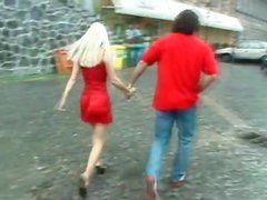 He goes down on hot blonde in red satin dress