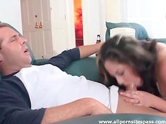 Cumshot on her face and in her eye