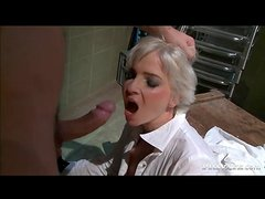 Blonde waitress fucked anally from behind