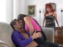 Ripped Dude Fucks A Hot Redhead Milf & Her Daughter.