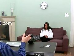 darkhair girl teasing fake agent on sofa